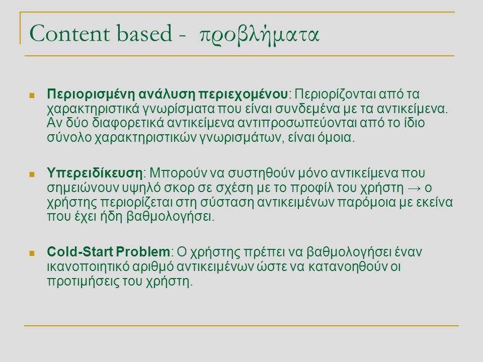 Content based - προβλήματα  Περιορισμένη ανάλυση περιεχομένου: Περιορίζονται από τα χαρακτηριστικά γνωρίσματα που είναι συνδεμένα με τα αντικείμενα.