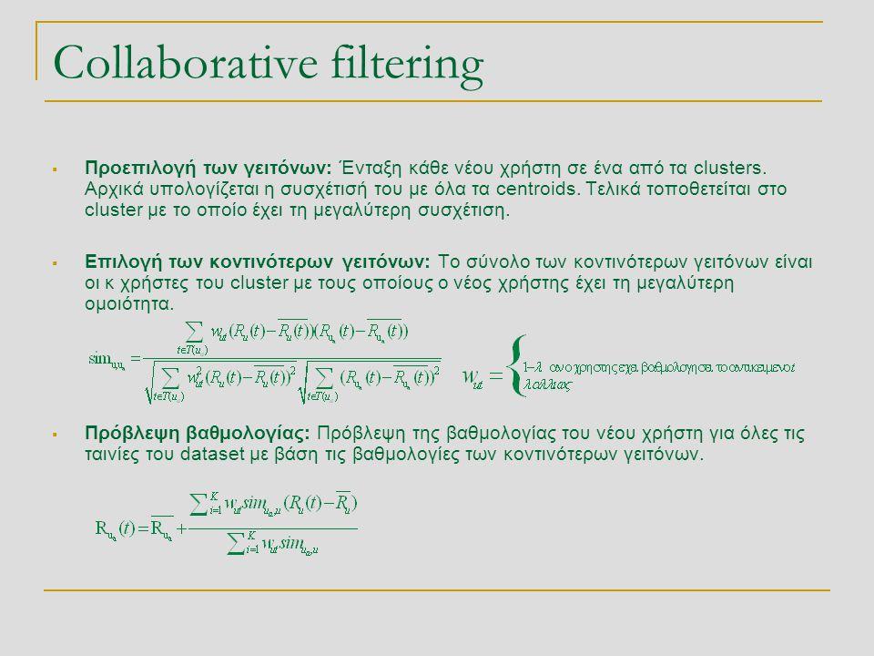 Collaborative filtering  Προεπιλογή των γειτόνων: Ένταξη κάθε νέου χρήστη σε ένα από τα clusters. Αρχικά υπολογίζεται η συσχέτισή του με όλα τα centr