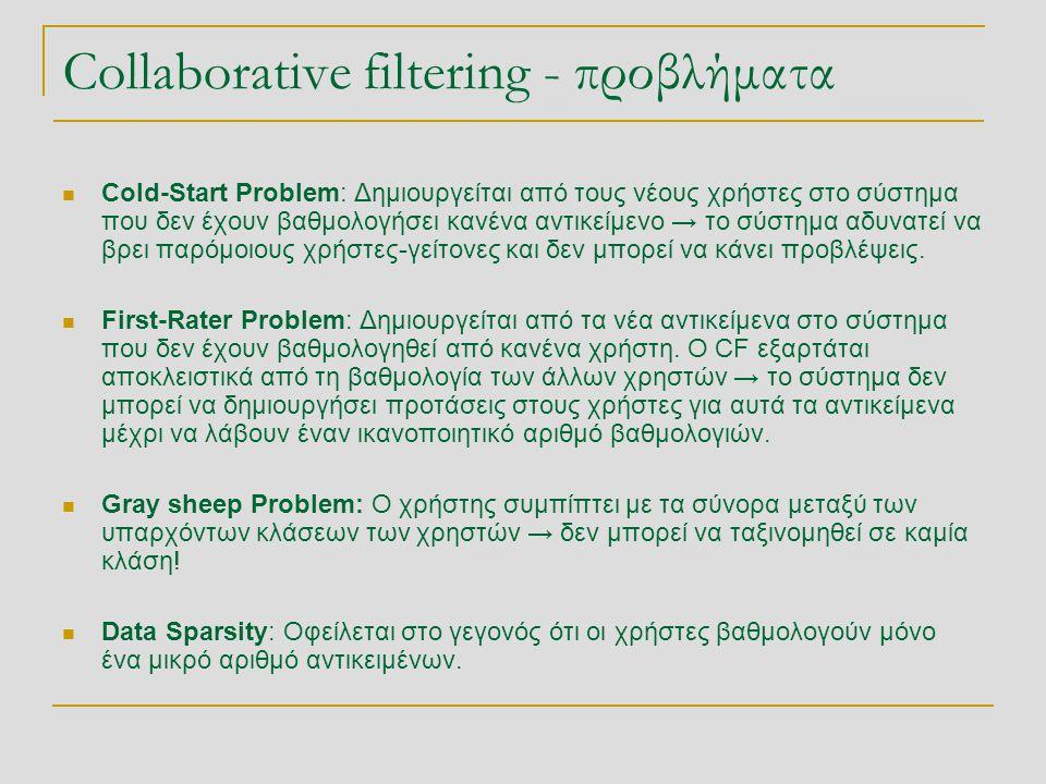 Collaborative filtering - προβλήματα  Cold-Start Problem: Δημιουργείται από τους νέους χρήστες στο σύστημα που δεν έχουν βαθμολογήσει κανένα αντικείμενο → το σύστημα αδυνατεί να βρει παρόμοιους χρήστες-γείτονες και δεν μπορεί να κάνει προβλέψεις.