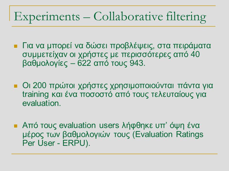 Experiments – Collaborative filtering  Για να μπορεί να δώσει προβλέψεις, στα πειράματα συμμετείχαν οι χρήστες με περισσότερες από 40 βαθμολογίες – 6