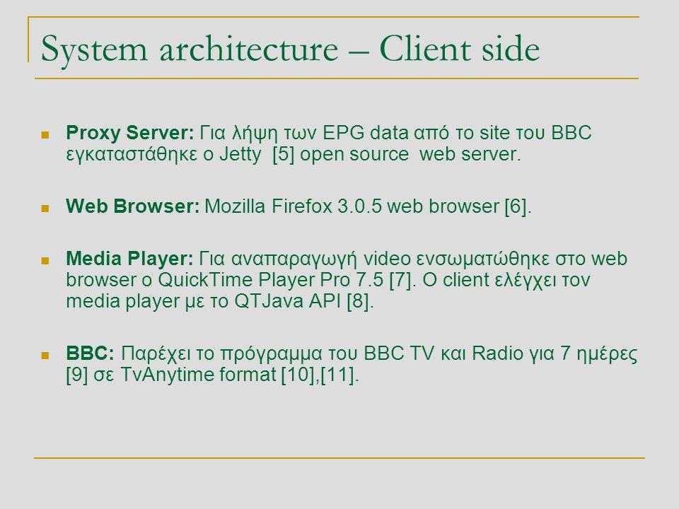 System architecture – Client side  Proxy Server: Για λήψη των EPG data από το site του BBC εγκαταστάθηκε ο Jetty [5] open source web server.