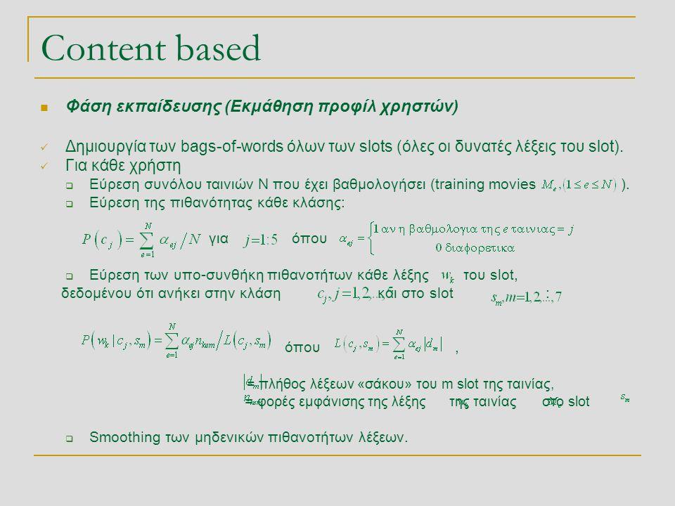 Content based  Φάση εκπαίδευσης (Εκμάθηση προφίλ χρηστών)  Δημιουργία των bags-of-words όλων των slots (όλες οι δυνατές λέξεις του slot).  Για κάθε