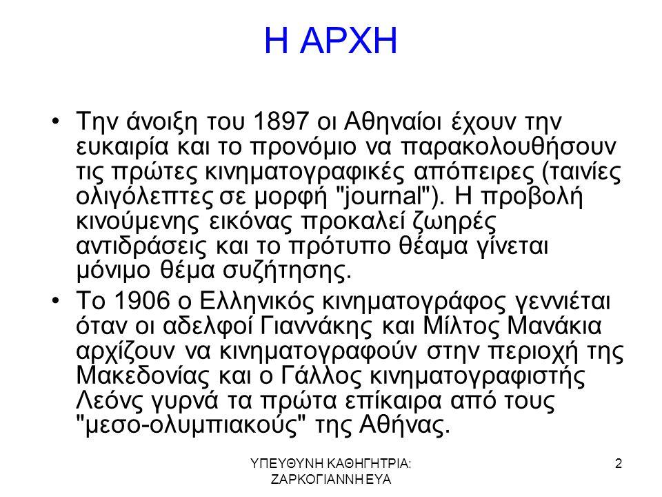 Η ΑΡΧΗ •Την άνοιξη του 1897 οι Αθηναίοι έχουν την ευκαιρία και το προνόμιο να παρακολουθήσουν τις πρώτες κινηματογραφικές απόπειρες (ταινίες ολιγόλεπτες σε μορφή journal ).