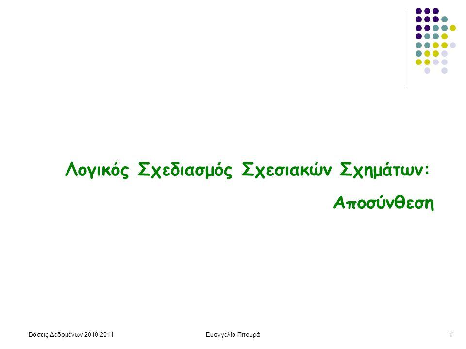 Βάσεις Δεδομένων 2010-2011Ευαγγελία Πιτουρά1 Λογικός Σχεδιασμός Σχεσιακών Σχημάτων: Αποσύνθεση