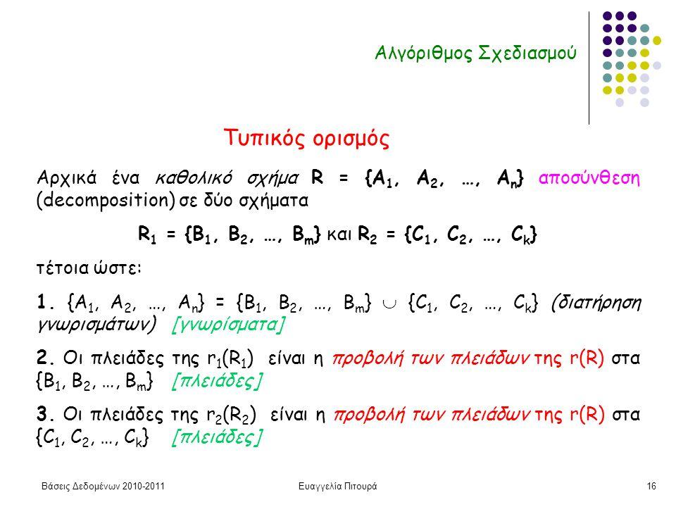 Βάσεις Δεδομένων 2010-2011Ευαγγελία Πιτουρά16 Αλγόριθμος Σχεδιασμού Αρχικά ένα καθολικό σχήμα R = {A 1, A 2, …, A n } αποσύνθεση (decomposition) σε δύο σχήματα R 1 = {B 1, B 2, …, B m } και R 2 = {C 1, C 2, …, C k } τέτοια ώστε: 1.