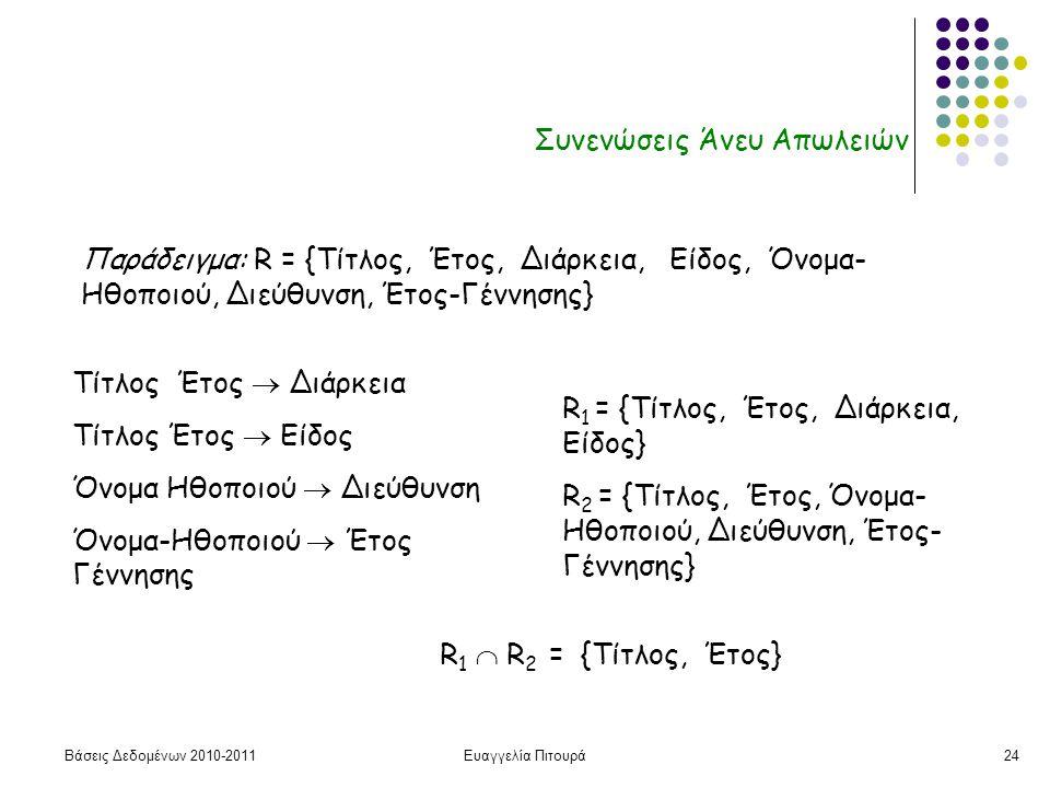Βάσεις Δεδομένων 2010-2011Ευαγγελία Πιτουρά24 Συνενώσεις Άνευ Απωλειών Παράδειγμα: R = {Τίτλος, Έτος, Διάρκεια, Είδος, Όνομα- Ηθοποιού, Διεύθυνση, Έτο