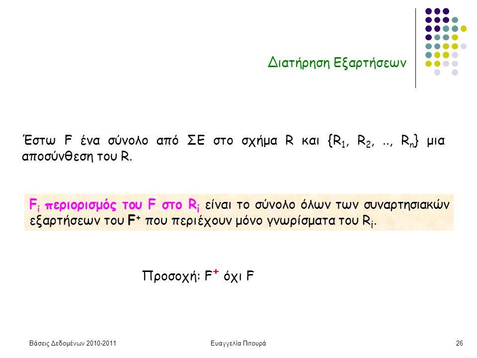 Βάσεις Δεδομένων 2010-2011Ευαγγελία Πιτουρά26 Διατήρηση Εξαρτήσεων F i περιορισμός του F στο R i είναι το σύνολο όλων των συναρτησιακών εξαρτήσεων του F + που περιέχουν μόνο γνωρίσματα του R i.