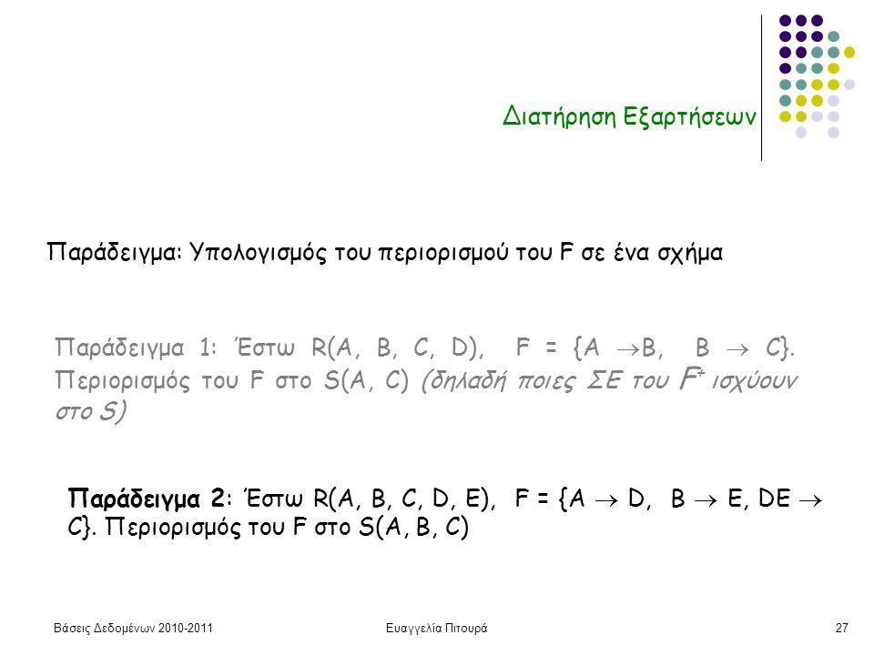 Βάσεις Δεδομένων 2010-2011Ευαγγελία Πιτουρά27 Διατήρηση Εξαρτήσεων Παράδειγμα: Υπολογισμός του περιορισμού του F σε ένα σχήμα Παράδειγμα 1: Έστω R(A, B, C, D), F = {A  B, B  C}.