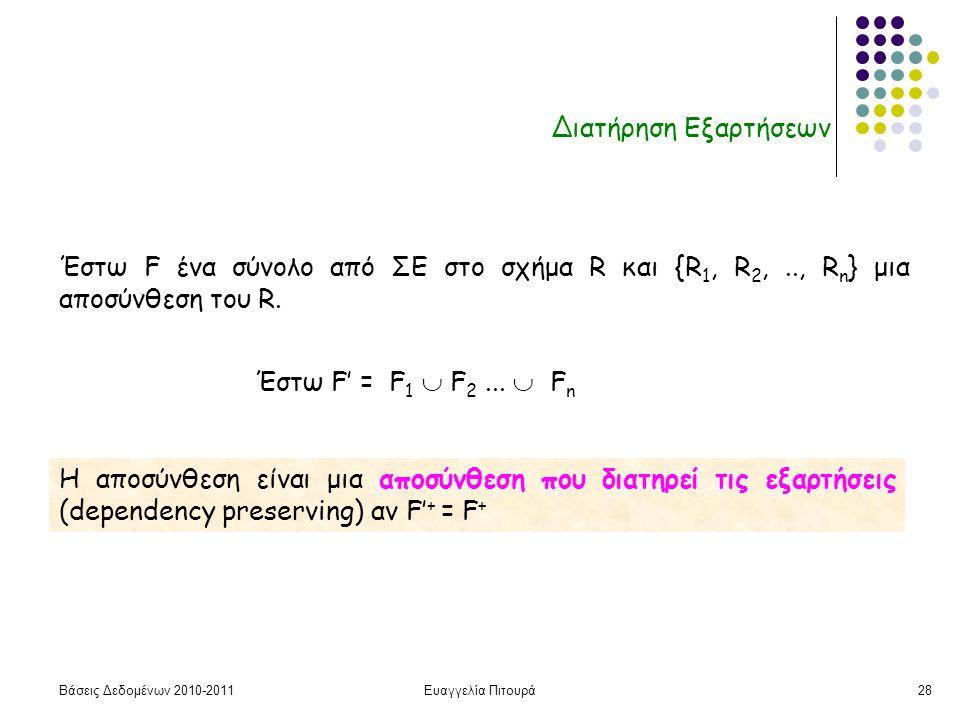 Βάσεις Δεδομένων 2010-2011Ευαγγελία Πιτουρά28 Διατήρηση Εξαρτήσεων Η αποσύνθεση είναι μια αποσύνθεση που διατηρεί τις εξαρτήσεις (dependency preserving) αν F' + = F + Έστω F ένα σύνολο από ΣΕ στο σχήμα R και {R 1, R 2,.., R n } μια αποσύνθεση του R.