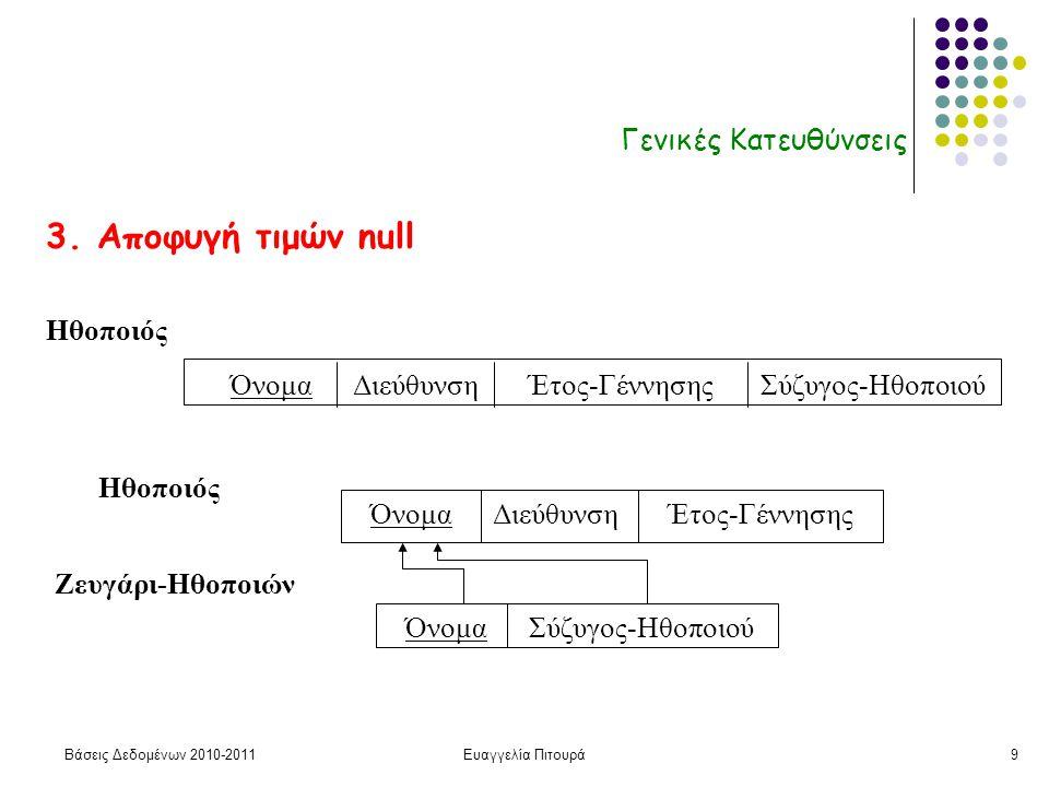 Βάσεις Δεδομένων 2010-2011Ευαγγελία Πιτουρά9 Γενικές Κατευθύνσεις 3.
