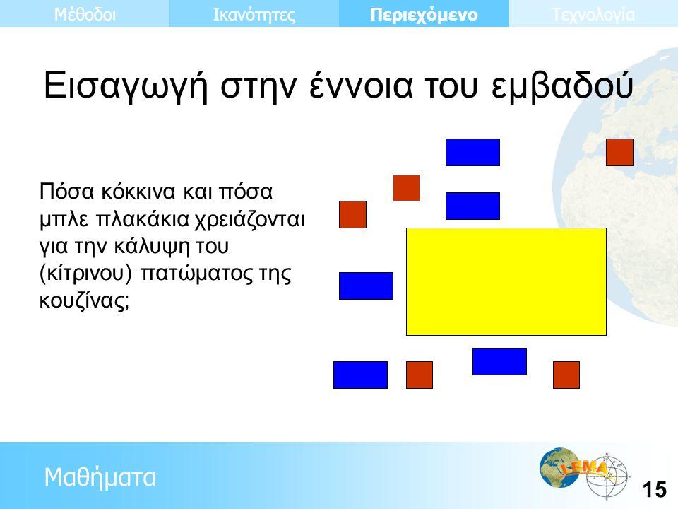 Μαθήματα Περιεχόμενο 15 ΙκανότητεςΜέθοδοιΤεχνολογία Πόσα κόκκινα και πόσα μπλε πλακάκια χρειάζονται για την κάλυψη του (κίτρινου) πατώματος της κουζίνας; Εισαγωγή στην έννοια του εμβαδού