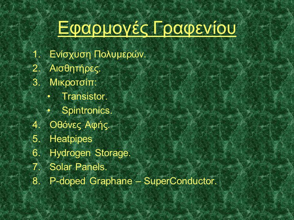 Εφαρμογές Γραφενίου 1.Ενίσχυση Πολυμερών. 2.Αισθητήρες. 3.Μικροτσίπ: •Transistor. •Spintronics. 4.Οθόνες Αφής. 5.Heatpipes 6.Hydrogen Storage. 7.Solar