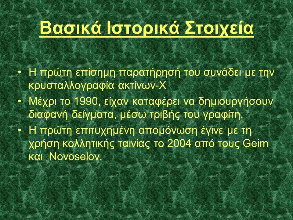 Βασικά Ιστορικά Στοιχεία •Η πρώτη επίσημη παρατήρησή του συνάδει με την κρυσταλλογραφία ακτίνων-Χ •Μέχρι το 1990, είχαν καταφέρει να δημιουργήσουν δια