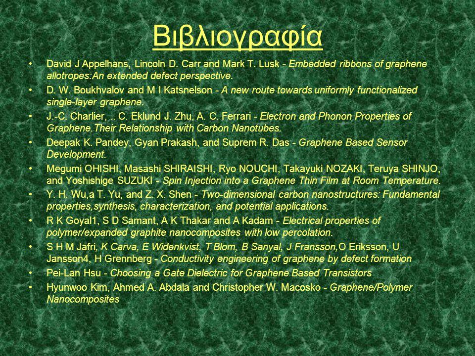 Βιβλιογραφία •David J Appelhans, Lincoln D. Carr and Mark T. Lusk - Embedded ribbons of graphene allotropes:Αn extended defect perspective. •D. W. Bou