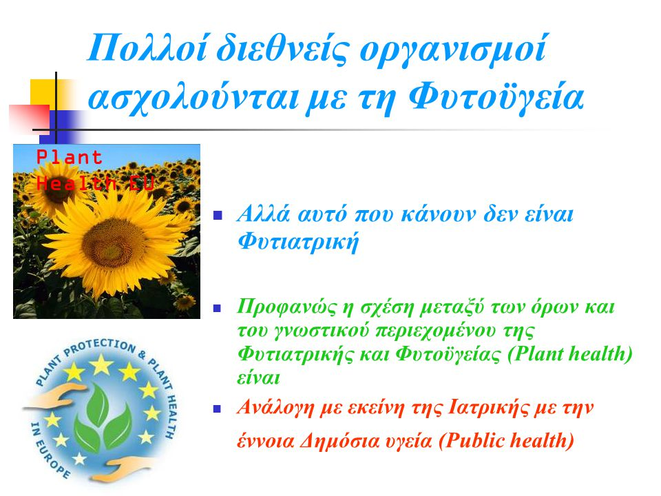 Πολλοί διεθνείς οργανισμοί ασχολούνται με τη Φυτοϋγεία  Αλλά αυτό που κάνουν δεν είναι Φυτιατρική  Προφανώς η σχέση μεταξύ των όρων και του γνωστικού περιεχομένου της Φυτιατρικής και Φυτοϋγείας (Plant health) είναι  Ανάλογη με εκείνη της Ιατρικής με την έννοια Δημόσια υγεία (Public health) Plant Health EU