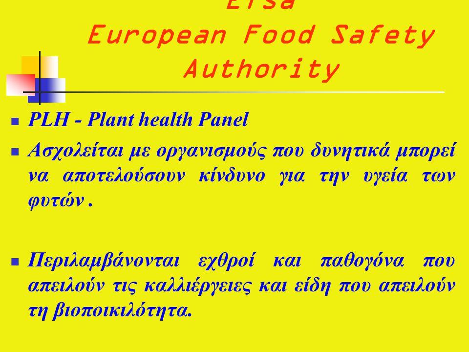 Efsa European Food Safety Authority  PLH - Plant health Panel  Ασχολείται με οργανισμούς που δυνητικά μπορεί να αποτελούσουν κίνδυνο για την υγεία των φυτών.