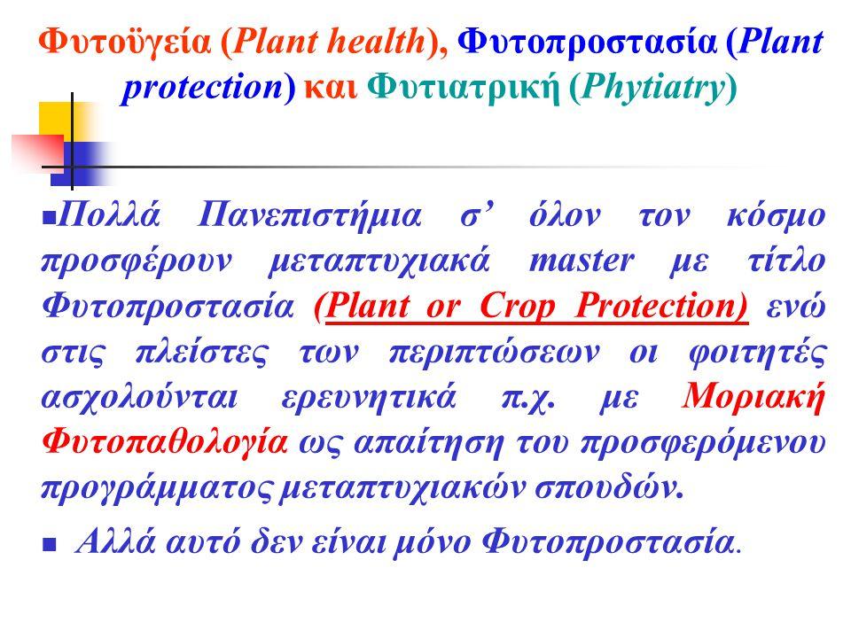 Φυτοϋγεία (Plant health), Φυτοπροστασία (Plant protection) και Φυτιατρική (Phytiatry)  Πολλά Πανεπιστήμια σ' όλον τον κόσμο προσφέρουν μεταπτυχιακά master με τίτλο Φυτοπροστασία (Plant or Crop Protection) ενώ στις πλείστες των περιπτώσεων οι φοιτητές ασχολούνται ερευνητικά π.χ.