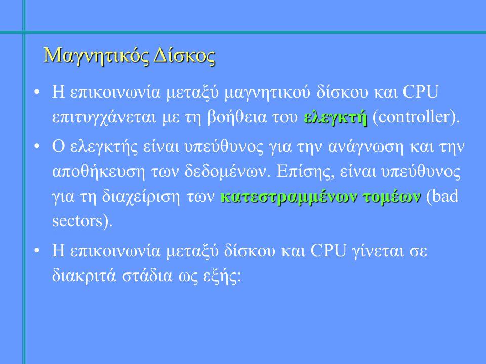 ελεγκτή •Η επικοινωνία μεταξύ μαγνητικού δίσκου και CPU επιτυγχάνεται με τη βοήθεια του ελεγκτή (controller).