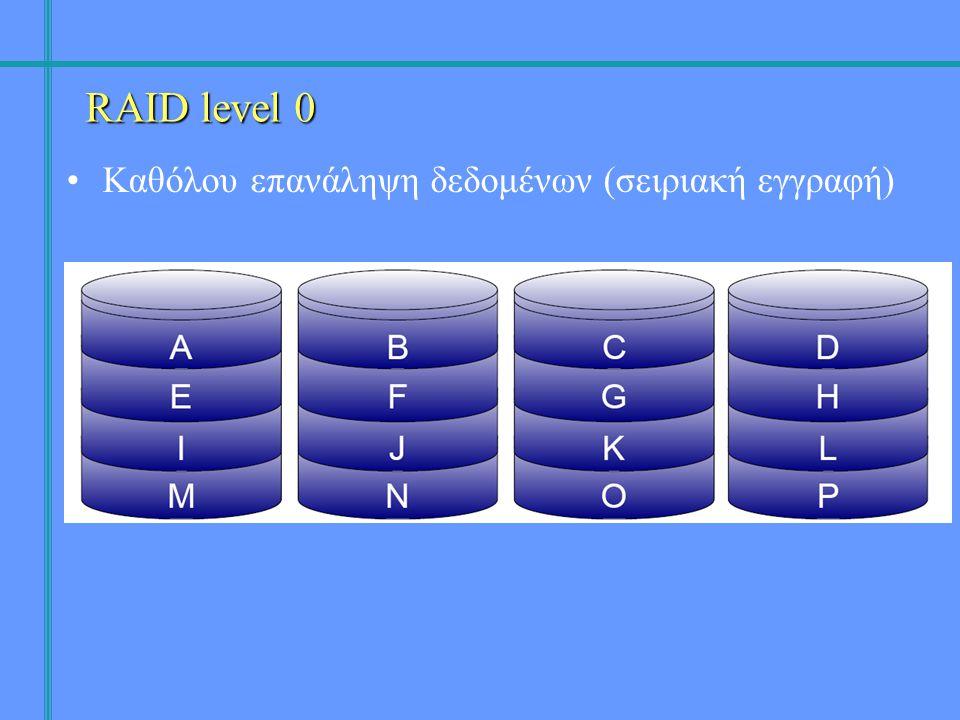 •Καθόλου επανάληψη δεδομένων (σειριακή εγγραφή) RAID level 0