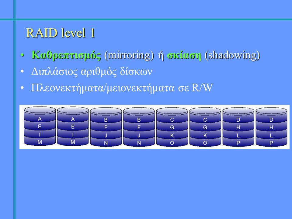 •Καθρεπτισμός (mirroring) ή σκίαση (shadowing) •Διπλάσιος αριθμός δίσκων •Πλεονεκτήματα/μειονεκτήματα σε R/W RAID level 1