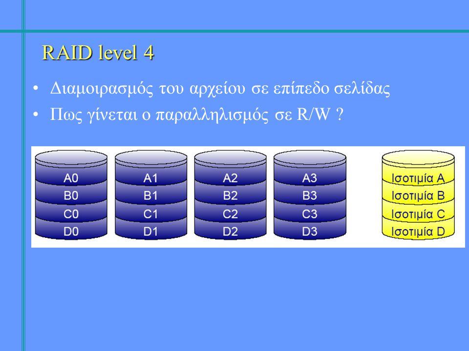 •Διαμοιρασμός του αρχείου σε επίπεδο σελίδας •Πως γίνεται ο παραλληλισμός σε R/W ? RAID level 4