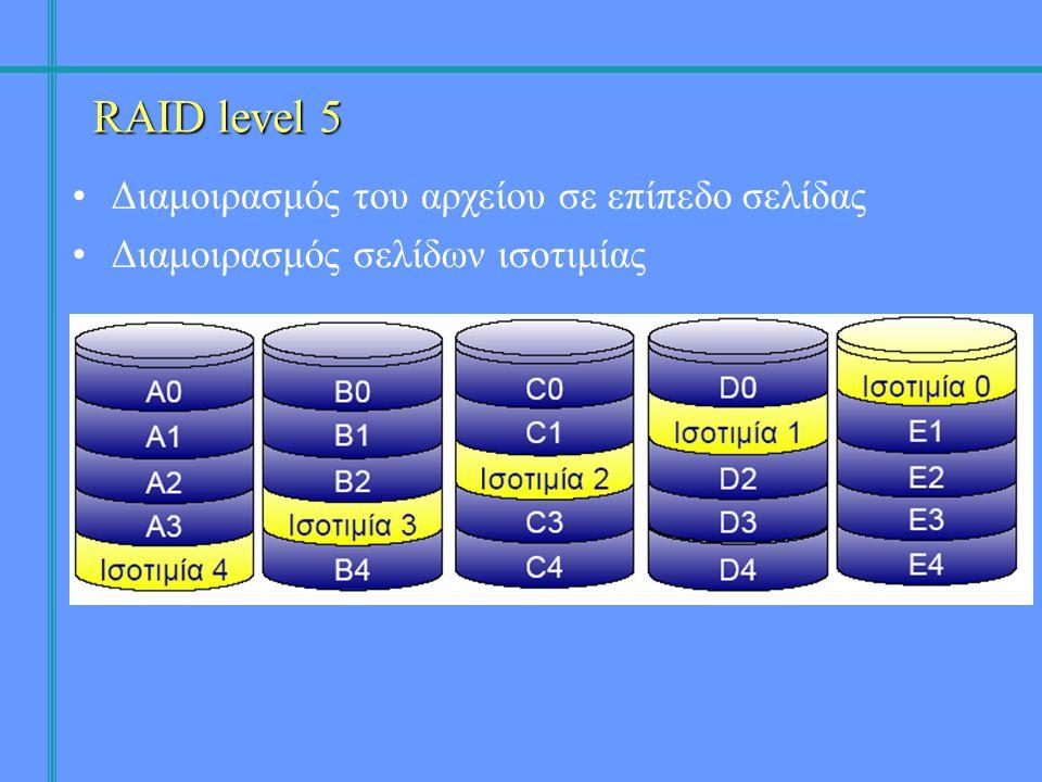 •Διαμοιρασμός του αρχείου σε επίπεδο σελίδας •Διαμοιρασμός σελίδων ισοτιμίας RAID level 5