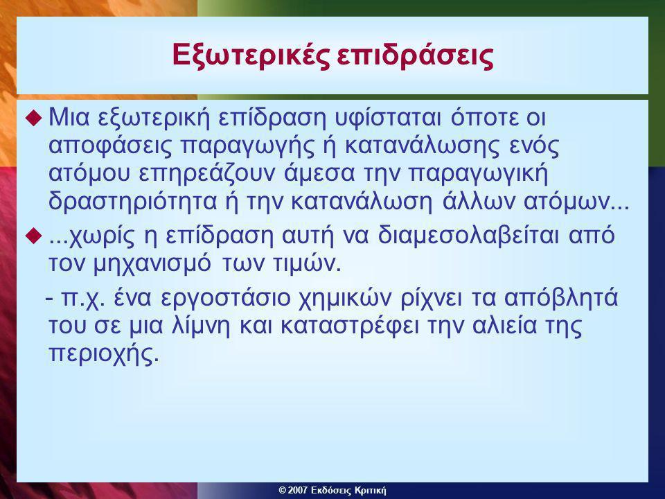 © 2007 Εκδόσεις Κριτική Εξωτερικές επιδράσεις  Μια εξωτερική επίδραση υφίσταται όποτε οι αποφάσεις παραγωγής ή κατανάλωσης ενός ατόμου επηρεάζουν άμε