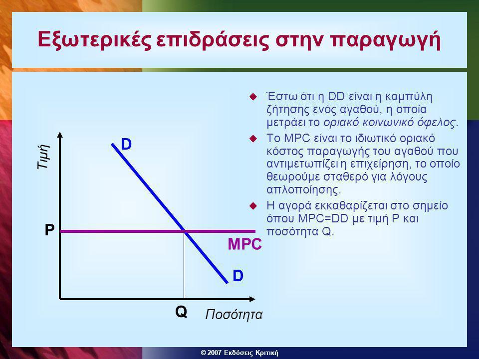 © 2007 Εκδόσεις Κριτική Εξωτερικές επιδράσεις στην παραγωγή  Έστω ότι η DD είναι η καμπύλη ζήτησης ενός αγαθού, η οποία μετράει το οριακό κοινωνικό ό