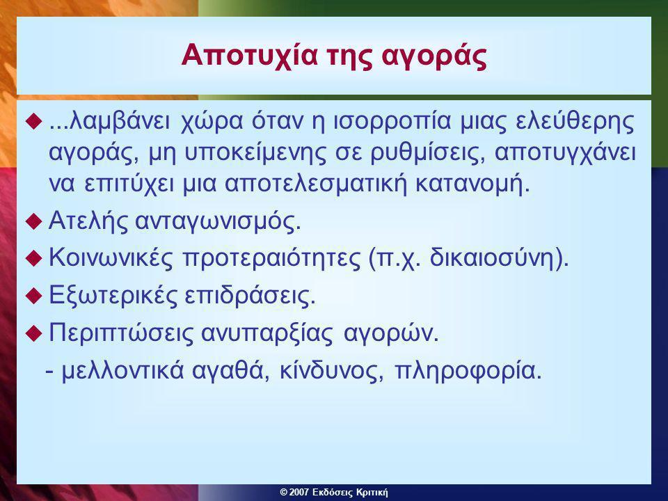 © 2007 Εκδόσεις Κριτική Αποτυχία της αγοράς ...λαμβάνει χώρα όταν η ισορροπία μιας ελεύθερης αγοράς, μη υποκείμενης σε ρυθμίσεις, αποτυγχάνει να επιτ