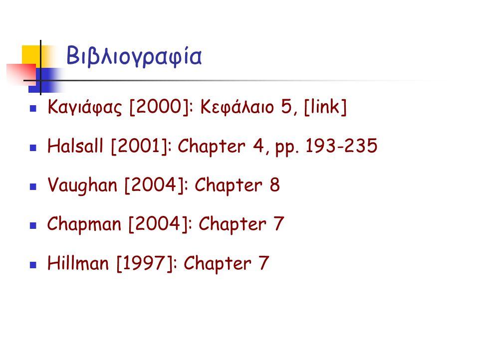 Βιβλιογραφία  Καγιάφας [2000]: Κεφάλαιο 5, [link]  Halsall [2001]: Chapter 4, pp. 193-235  Vaughan [2004]: Chapter 8  Chapman [2004]: Chapter 7 