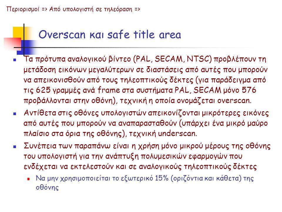 Overscan και safe title area  Τα πρότυπα αναλογικού βίντεο (PAL, SECAM, NTSC) προβλέπουν τη μετάδοση εικόνων μεγαλύτερων σε διαστάσεις από αυτές που