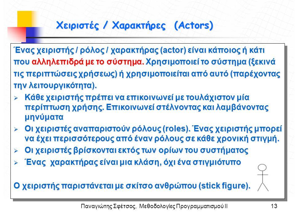 Παναγιώτης Σφέτσος, Μεθοδολογίες Προγραμματισμού ΙΙ13 Στόχοι Χειριστές / Χαρακτήρες (Actors) Χειριστές / Χαρακτήρες (Actors) Ένας χειριστής / ρόλος /