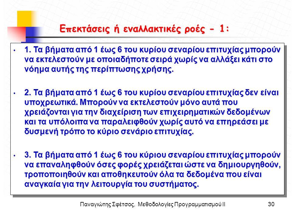 Παναγιώτης Σφέτσος, Μεθοδολογίες Προγραμματισμού ΙΙ30 Στόχοι • 1. Τα βήματα από 1 έως 6 του κυρίου σεναρίου επιτυχίας μπορούν να εκτελεστούν με οποιαδ