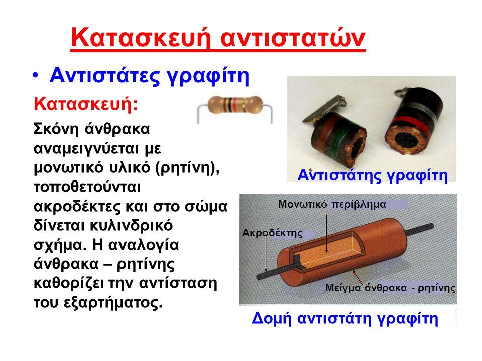 Κατασκευή αντιστατών •Αντιστάτες γραφίτη Σκόνη άνθρακα αναμειγνύεται με μονωτικό υλικό (ρητίνη), τοποθετούνται ακροδέκτες και στο σώμα δίνεται κυλινδρικό σχήμα.