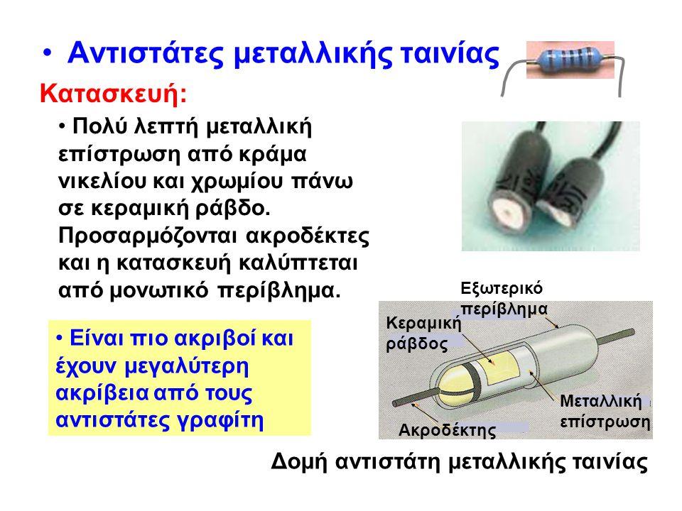 •Αντιστάτες σύρματος Κατασκευάζονται από μείγμα χρωμονικελίνης, που τυλίγεται γύρω από μονωτικό σώμα, συνήθως κεραμικό.