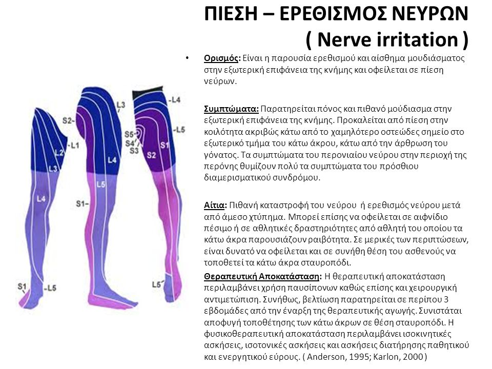 ΠΙΕΣΗ – ΕΡΕΘΙΣΜΟΣ ΝΕΥΡΩΝ ( Nerve irritation ) • Ορισμός: Είναι η παρουσία ερεθισμού και αίσθημα μουδιάσματος στην εξωτερική επιφάνεια της κνήμης και οφείλεται σε πίεση νεύρων.