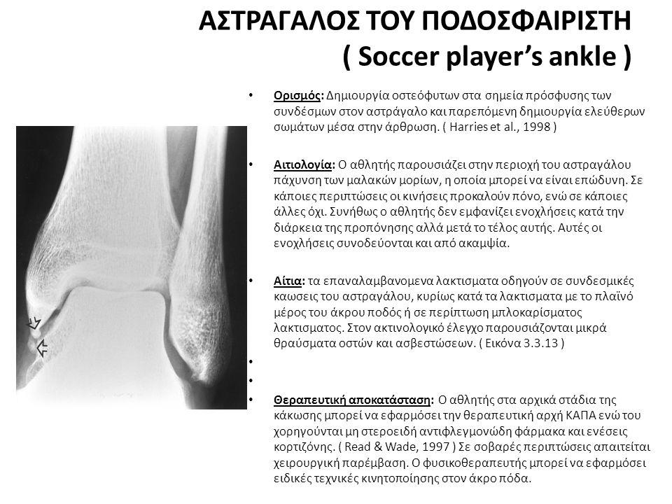ΑΣΤΡΑΓΑΛΟΣ ΤΟΥ ΠΟΔΟΣΦΑΙΡΙΣΤΗ ( Soccer player's ankle ) • Ορισμός: Δημιουργία οστεόφυτων στα σημεία πρόσφυσης των συνδέσμων στον αστράγαλο και παρεπόμενη δημιουργία ελεύθερων σωμάτων μέσα στην άρθρωση.