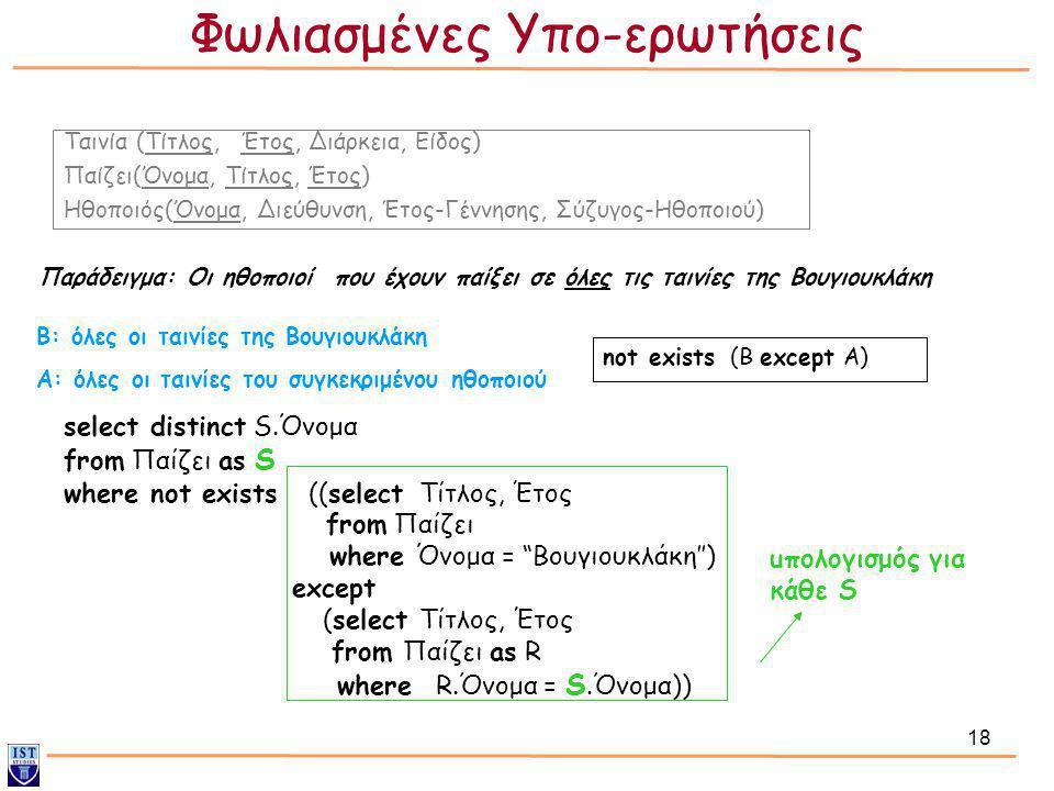 18 Παράδειγμα: Οι ηθοποιοί που έχουν παίξει σε όλες τις ταινίες της Βουγιουκλάκη select distinct S.Όνομα from Παίζει as S where not exists ((select Τί