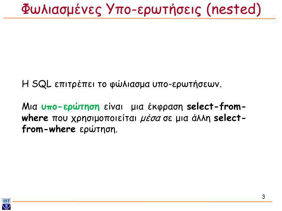 24 Ο τελεστής μπορεί να είναι: • in/not in (συμμετοχή σε σύνολο) • (>, =, κλπ) some/any/all (σύγκριση συνόλων) • exists/not exists (έλεγχος για κενά σύνολα) • unique/not unique (έλεγχος για διπλότιμα) Φωλιασμένες Υπο-ερωτήσεις (επανάληψη)