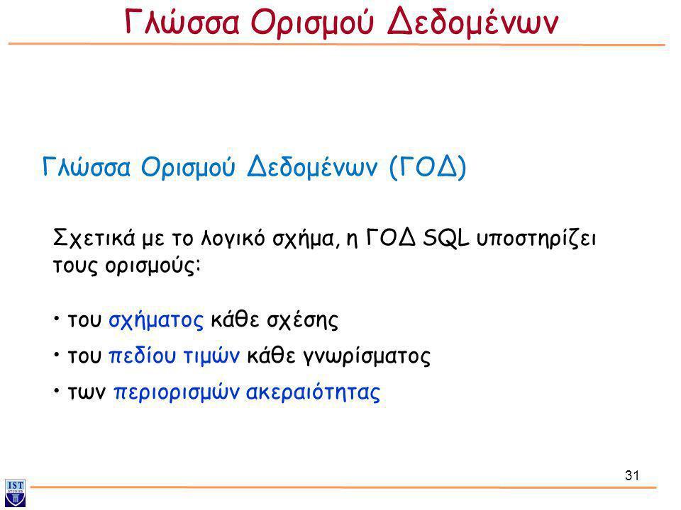 31 Γλώσσα Ορισμού Δεδομένων (ΓΟΔ) Σχετικά με το λογικό σχήμα, η ΓΟΔ SQL υποστηρίζει τους ορισμούς: • του σχήματος κάθε σχέσης • του πεδίου τιμών κάθε
