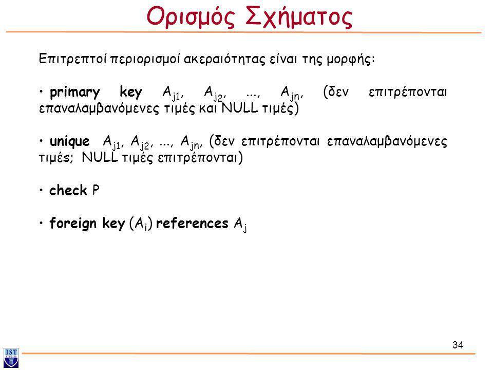 34 Επιτρεπτοί περιορισμοί ακεραιότητας είναι της μορφής: • primary key A j 1, A j 2,..., A j n, (δεν επιτρέπονται επαναλαμβανόμενες τιμές και NULL τιμ