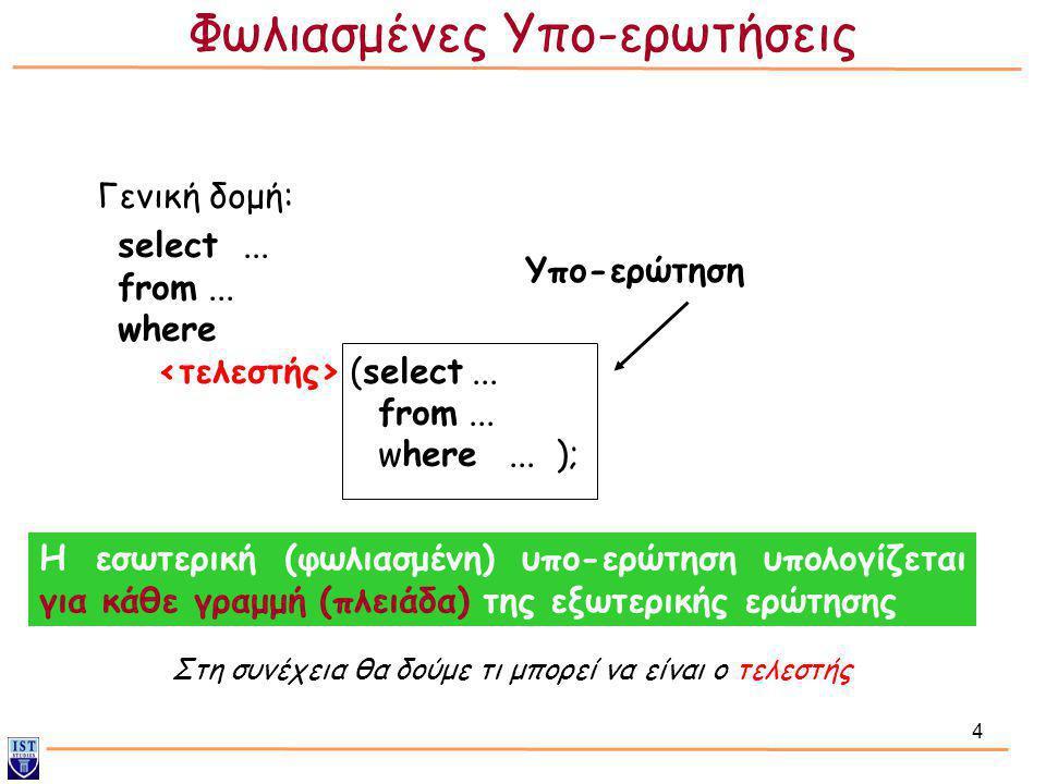 4 Γενική δομή: select... from... where (select... from... where... ); Η εσωτερική (φωλιασμένη) υπο-ερώτηση υπολογίζεται για κάθε γραμμή (πλειάδα) της