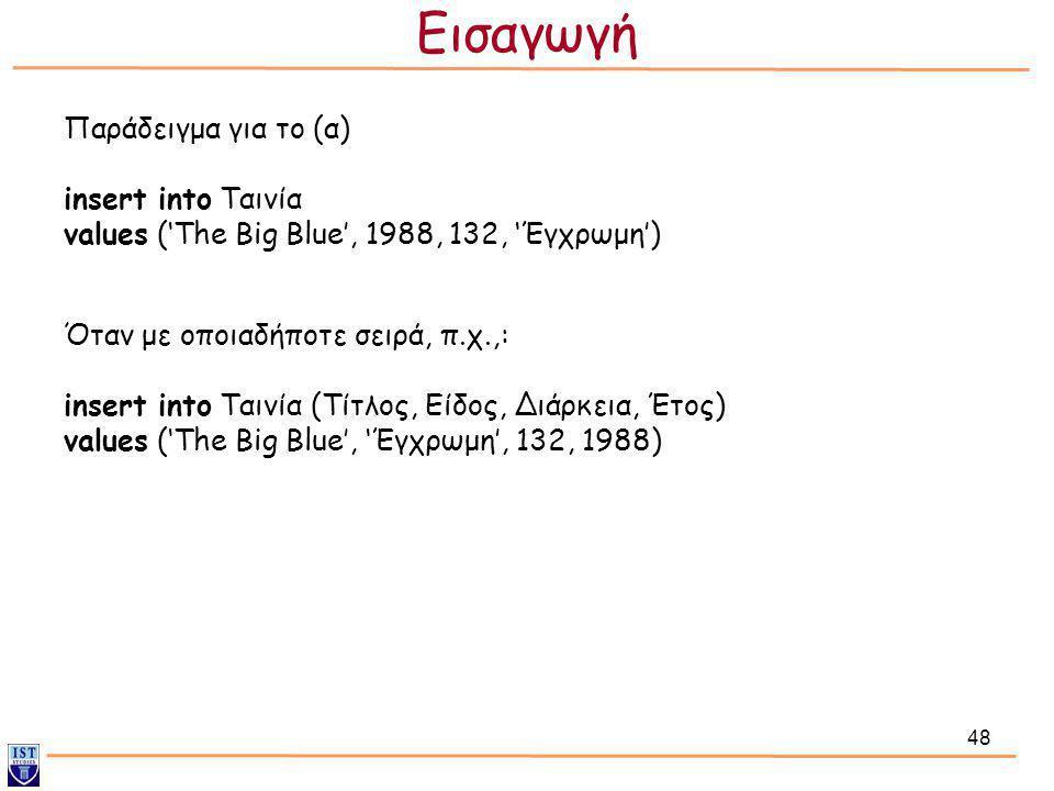 48 Παράδειγμα για το (α) insert into Ταινία values ('The Big Blue', 1988, 132, 'Έγχρωμη') Όταν με οποιαδήποτε σειρά, π.χ.,: insert into Ταινία (Τίτλος