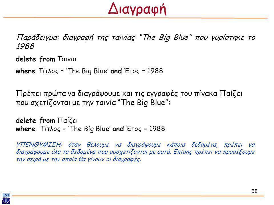 """58 Παράδειγμα: διαγραφή της ταινίας """"The Big Blue"""" που γυρίστηκε το 1988 delete from Ταινία where Τίτλος = 'The Big Blue' and Έτος = 1988 Πρέπει πρώτα"""
