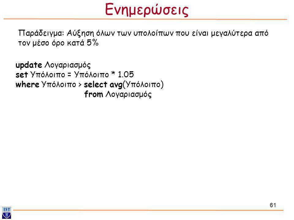 61 Παράδειγμα: Αύξηση όλων των υπολοίπων που είναι μεγαλύτερα από τον μέσο όρο κατά 5% update Λογαριασμός set Υπόλοιπο = Υπόλοιπο * 1.05 where Υπόλοιπ