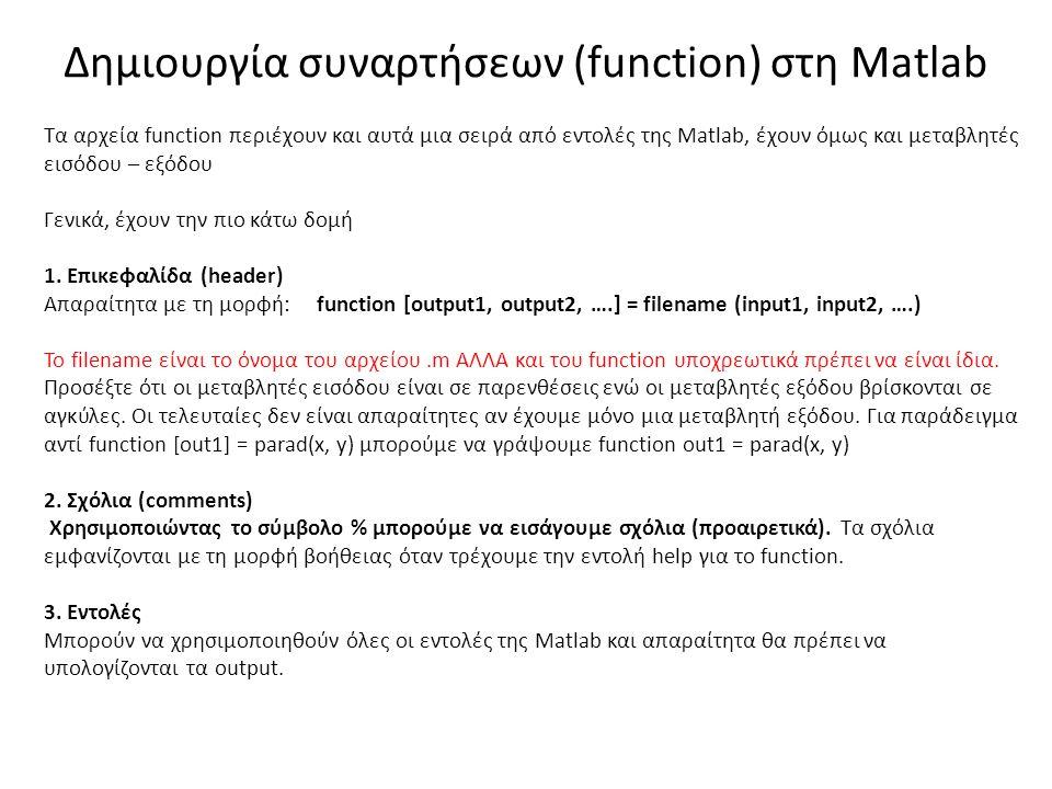 Δημιουργία συναρτήσεων (function) στη Matlab Τα αρχεία function περιέχουν και αυτά μια σειρά από εντολές της Matlab, έχουν όμως και μεταβλητές εισόδου – εξόδου Γενικά, έχουν την πιο κάτω δομή 1.