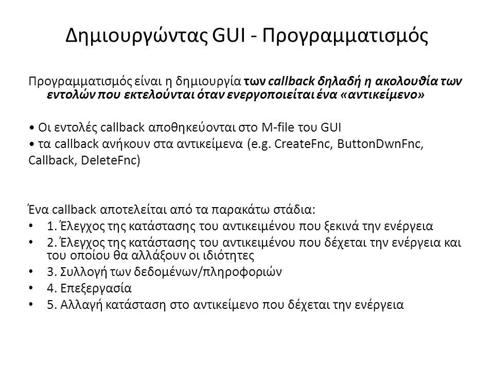 Δημιουργώντας GUI - Προγραμματισμός Προγραμματισμός είναι η δημιουργία των callback δηλαδή η ακολουθία των εντολών που εκτελούνται όταν ενεργοποιείται ένα «αντικείμενο» • Οι εντολές callback αποθηκεύονται στο M-file του GUI • τα callback ανήκουν στα αντικείμενα (e.g.