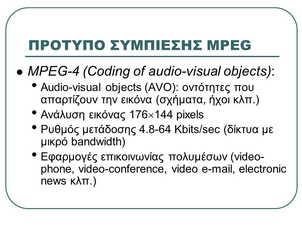 ΠΡΟΤΥΠΟ ΣΥΜΠΙΕΣΗΣ MPEG  MPEG-4 (Coding of audio-visual objects): • Audio-visual objects (AVO): οντότητες που απαρτίζουν την εικόνα (σχήματα, ήχοι κλπ