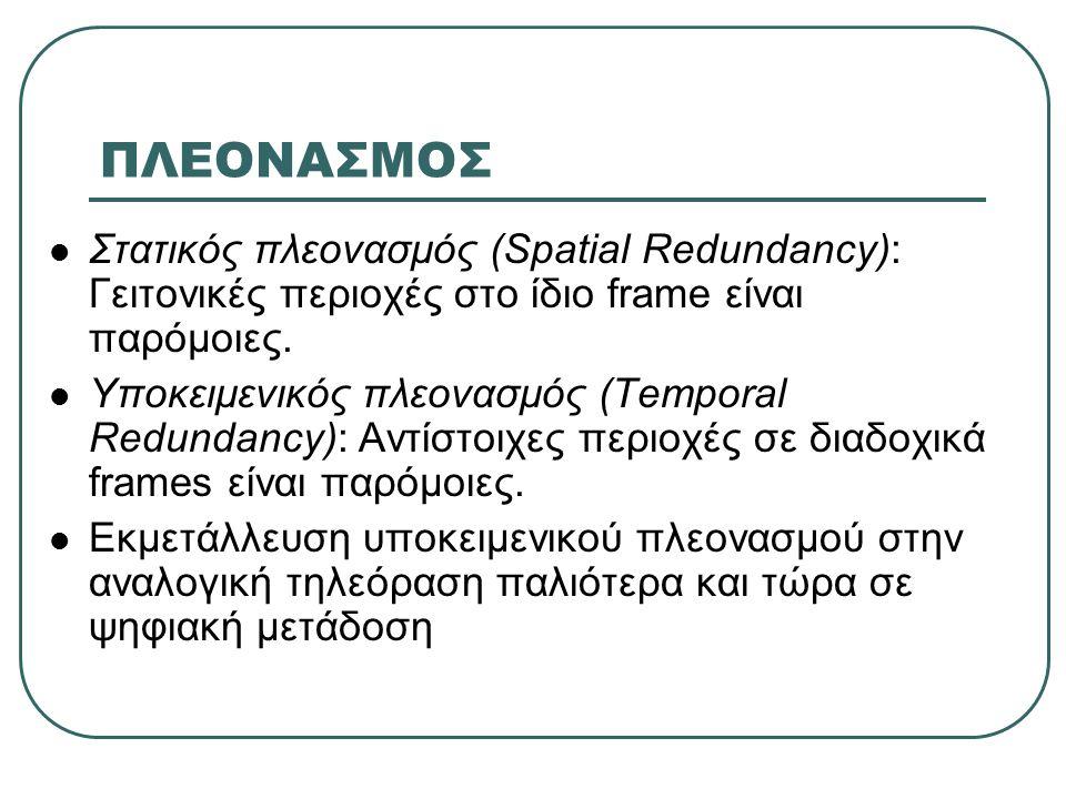 ΠΛΕΟΝΑΣΜΟΣ  Στατικός πλεονασμός (Spatial Redundancy): Γειτονικές περιοχές στο ίδιο frame είναι παρόμοιες.  Υποκειμενικός πλεονασμός (Temporal Redund