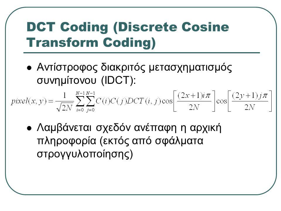 DCT Coding (Discrete Cosine Transform Coding)  Αντίστροφος διακριτός μετασχηματισμός συνημίτονου (IDCT):  Λαμβάνεται σχεδόν ανέπαφη η αρχική πληροφο